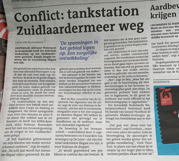 DVHN-krantenartikel-conflict-tankstation